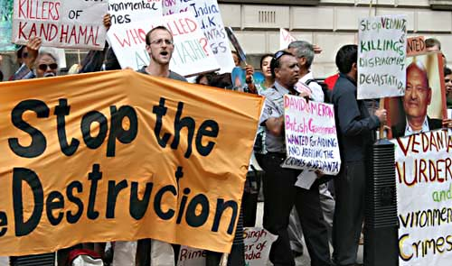 Protestors at a Vedanta shareholder meeting in London in 2010. Photo: Peasant Autonomy (www.peasantautonomy.org)